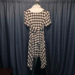 XS Elle A Line Pretty Office Dress B&W Plaid